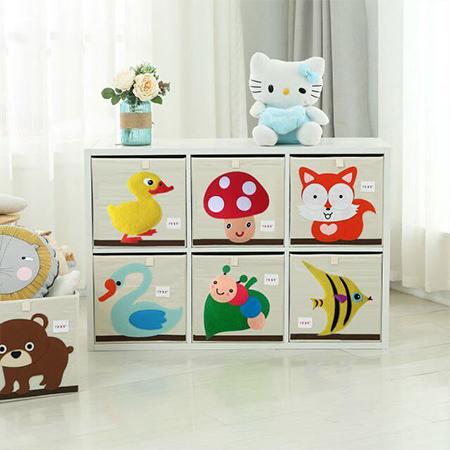 【折疊  diy 玩具收納箱】兒童加拿大玩具收納箱可折疊寶寶衣物整理布藝儲物卡通盒柜