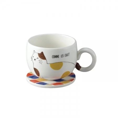 【sunart】日本sunart 馬克杯磁磚墊 - 三花貓(附杯墊) 貓咪系列
