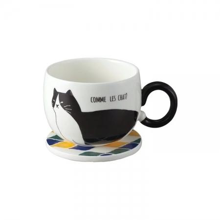 【sunart】日本sunart 馬克杯磁磚墊 - 黑貓(附杯墊) 貓咪系列