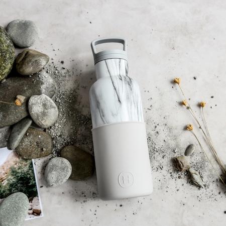 【美國HYDY】時尚保溫水瓶-雲灰-大理石瓶480ML  【秋冬新品】