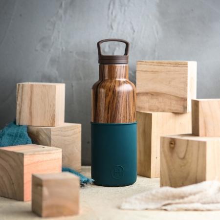 【美國HYDY】時尚保溫水瓶-孔雀綠-木紋瓶480ML  【秋冬新品】