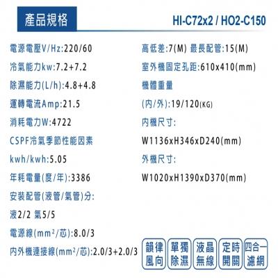 HERAN禾聯 變頻一對二壁掛式冷專型(HI-C72x2_HO2-C150)