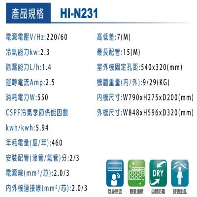 HERAN禾聯 變頻自由配N系列壁掛內機(HI-N231)