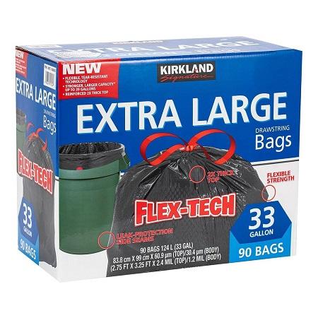 〔美式賣場〕Kirkland Signature 科克蘭 特大強力垃圾袋 124公升 (83.8 x 99cm) 90入
