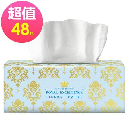 「破盤475元/箱 再免運」皇室精品抽取式衛生紙100抽/包x48包